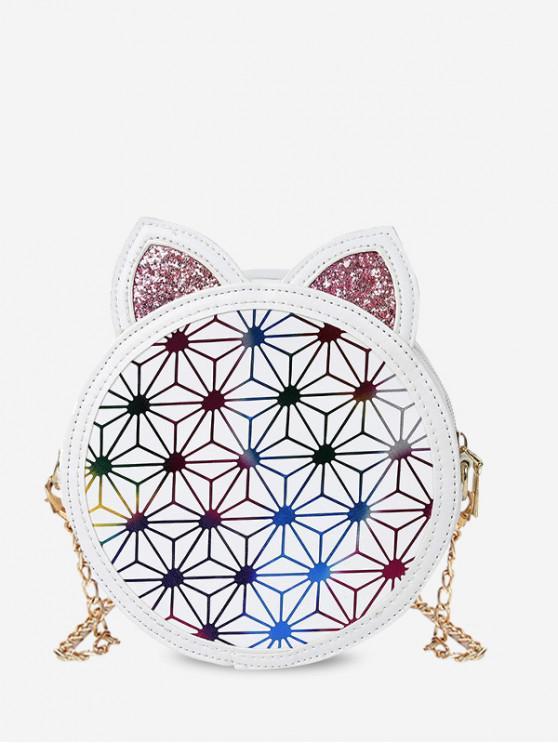 sale Round Cat Ears Shape Shoulder Bag - WHITE