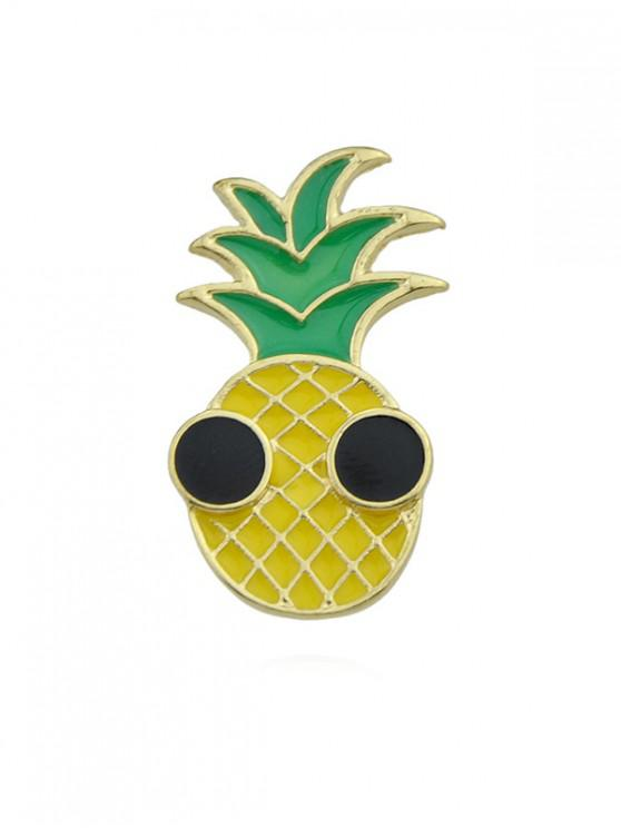 buy Cartoon Pineapple Glazed Brooch - GOLD