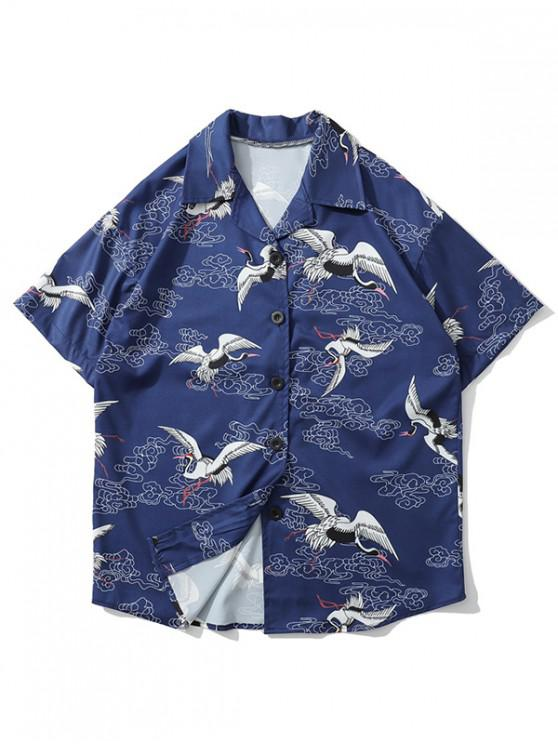 chic Flying Crane Print Casual Beach Shirt - DEEP BLUE XL