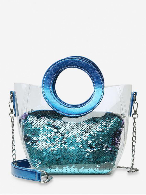 new Chain Paillette Design Round Handle Shoulder Bag - SKY BLUE