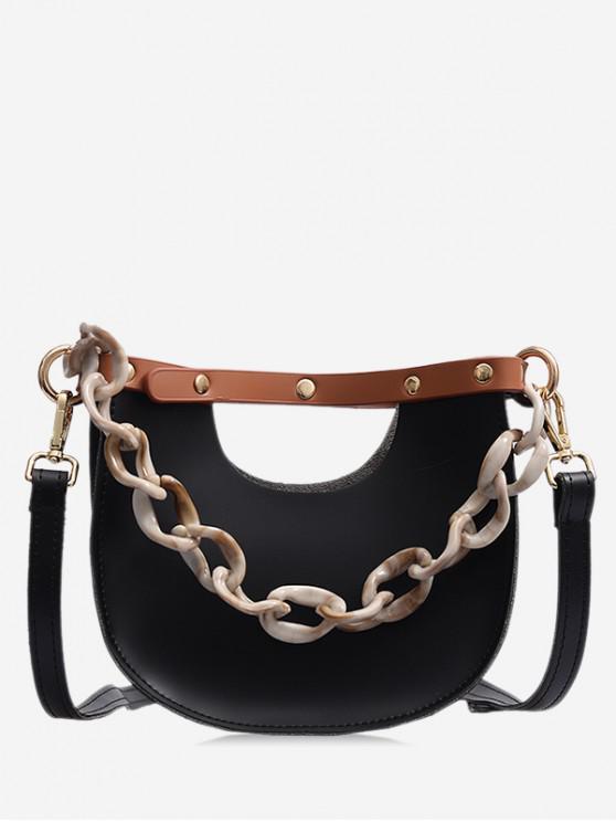 outfits Link Chain Design Simple Casual Shoulder Bag - BLACK