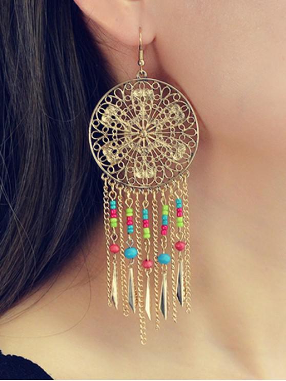 shop Beaded Tassel Chain Earrings - GOLD