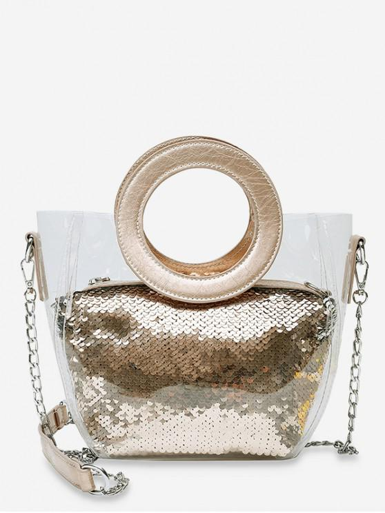 latest Chain Paillette Design Round Handle Shoulder Bag - GOLD