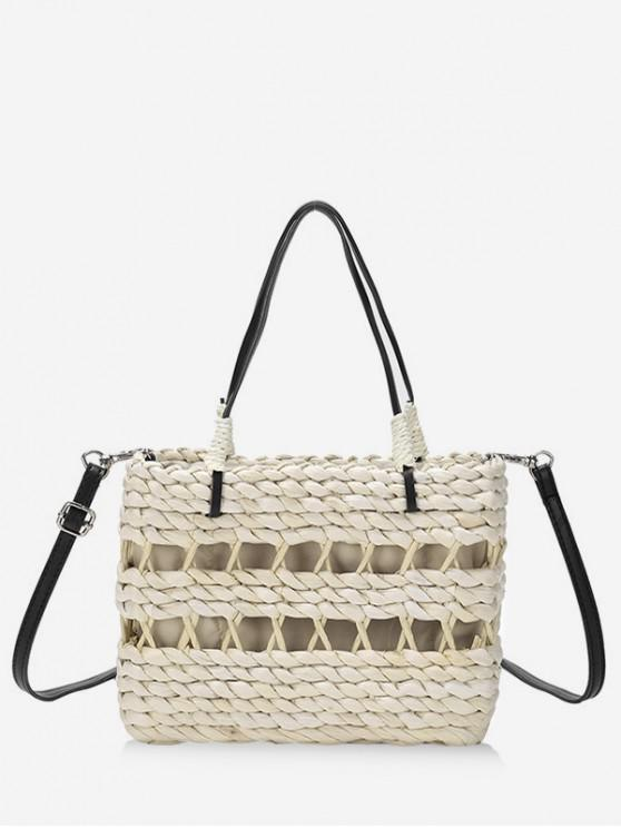 fashion Straw Hollowed Out Bucket Bag - WHITE