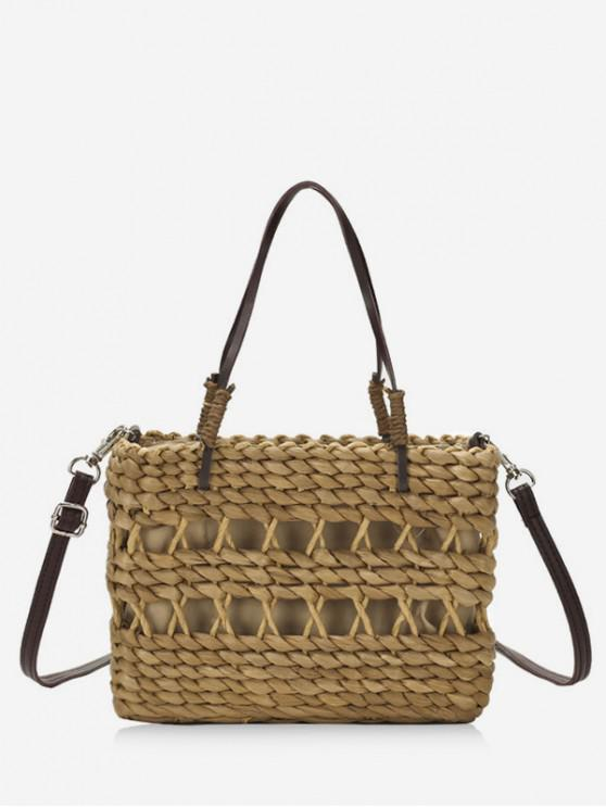 fancy Straw Hollowed Out Bucket Bag - BROWN