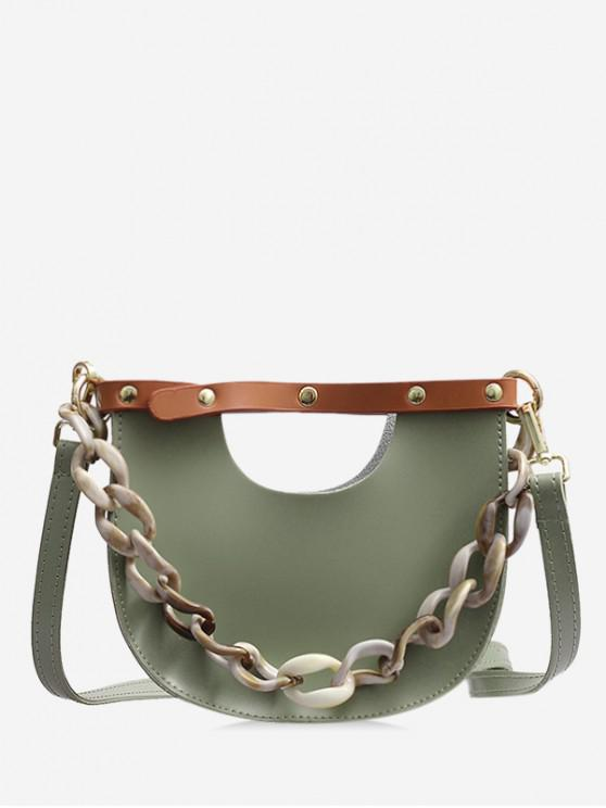 buy Link Chain Design Simple Casual Shoulder Bag - DEEP GREEN