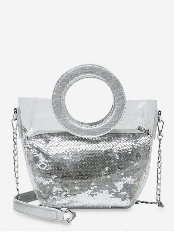 ladies Chain Paillette Design Round Handle Shoulder Bag - SILVER
