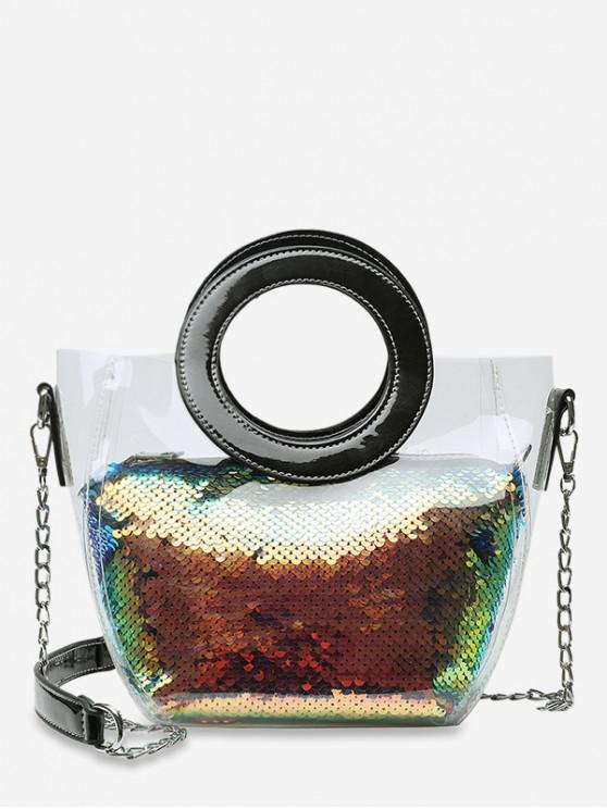 shops Chain Paillette Design Round Handle Shoulder Bag - BLACK