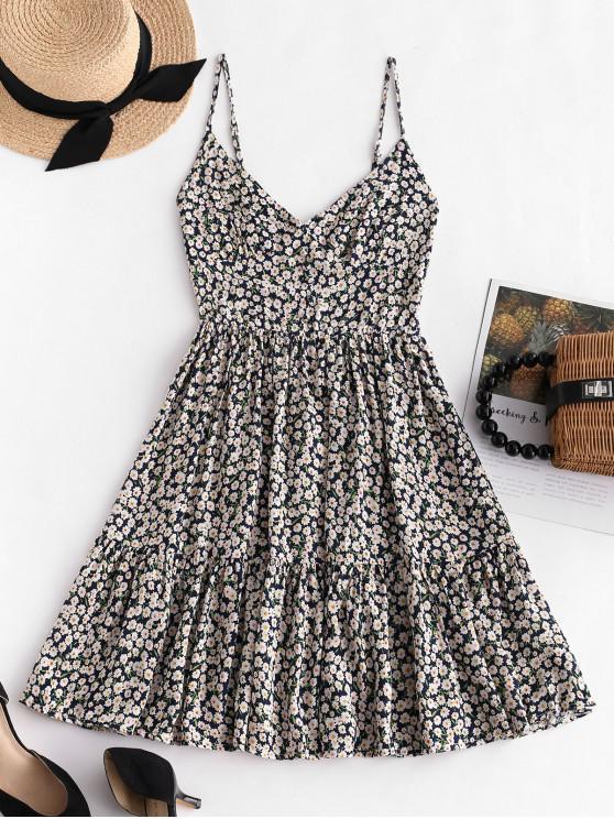 outfit ZAFUL Smocked Back Tiny Floral Cami Dress - DARK SLATE BLUE L