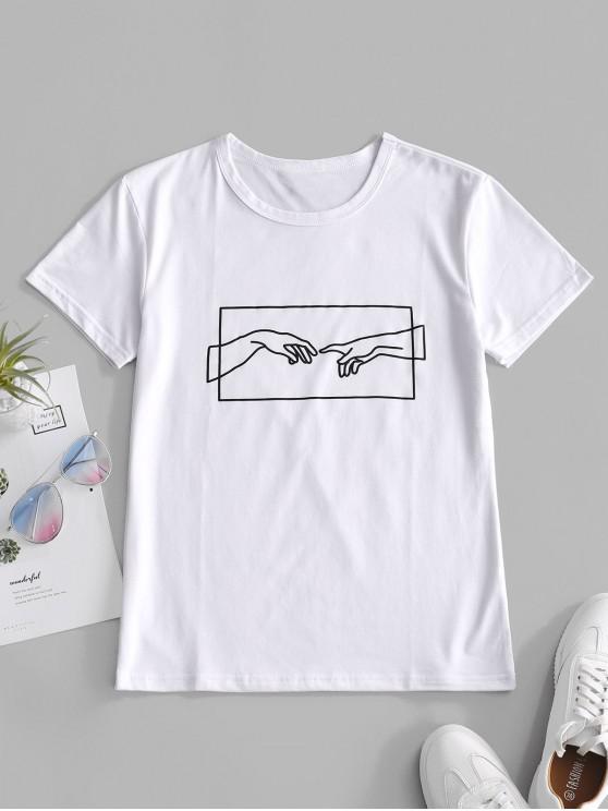 Camiseta de jersey con gráfico a mano - Blanco S