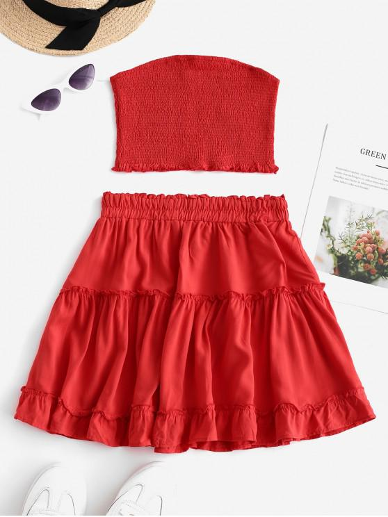 chic ZAFUL Smocked Bandeau Top and Skirt Set - RED XL
