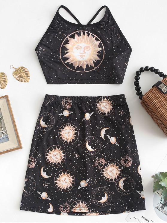 latest Criss Cross Universe Print Top And Skirt Set - BLACK XL