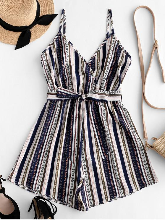 shop ZAFUL Ethnic Striped Surplice Belted Romper - MULTI S