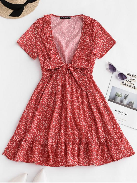 fashion ZAFUL Ruffles Tie Front Floral Dress - CHESTNUT RED M