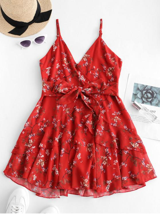 chic Ruffles Floral Surplice Cami Dress - RED S