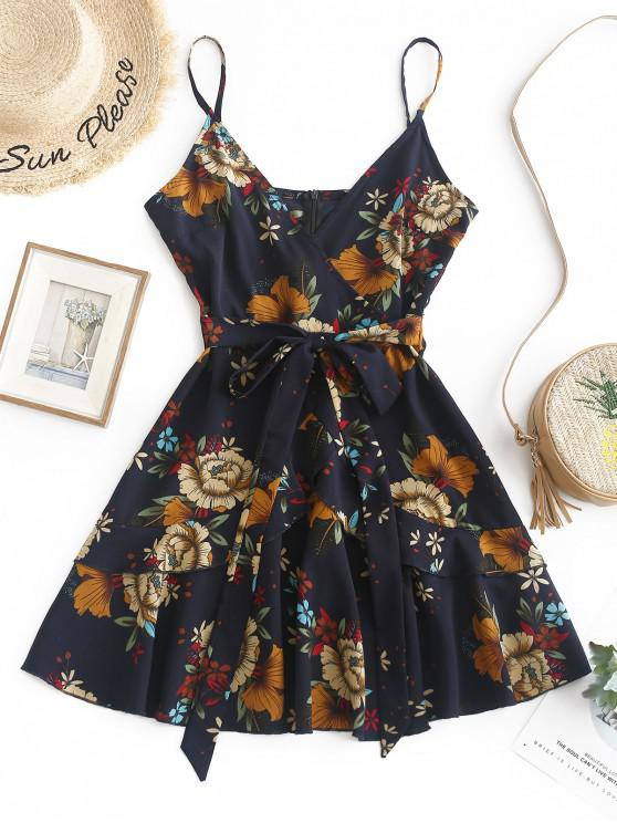 hot ZAFUL Ruffles Knotted Floral Cami Dress - MIDNIGHT BLUE S