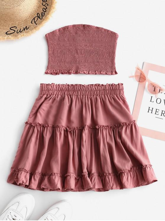 best ZAFUL Smocked Bandeau Top and Skirt Set - LIPSTICK PINK S