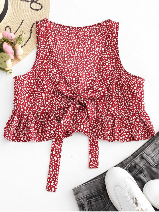 ZAFUL Speckled Plunging Peplum Tank Top - Roter Wein M