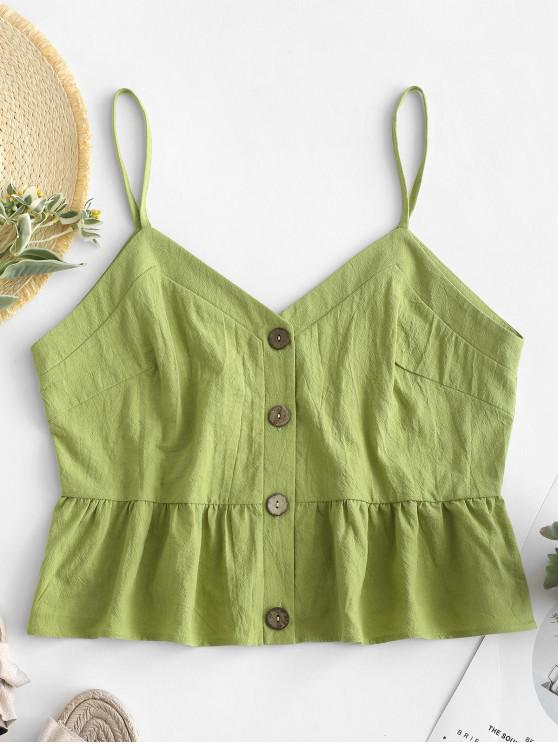 womens ZAFUL Ruffles Button Up Cami Top - GREEN M
