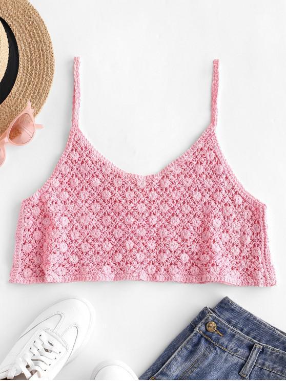 Haut Court au Crochet à Bretelle Fine - Rose  Taille Unique