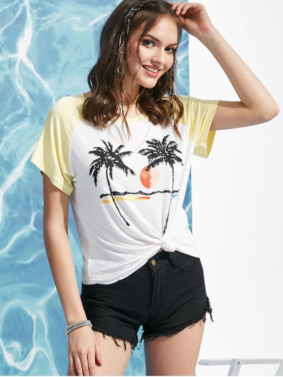trendy Baseball Coconut Tree Print Tee - WHITE S