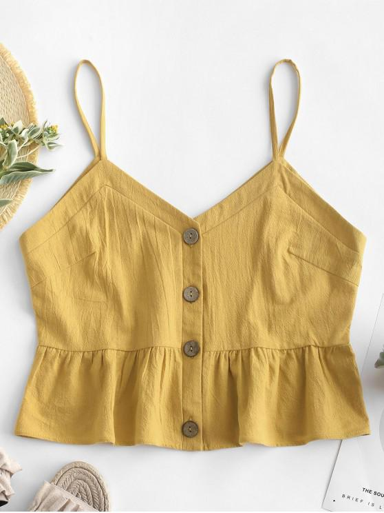 ZAFUL Ruffles Button Up Cami Top - Gelb S