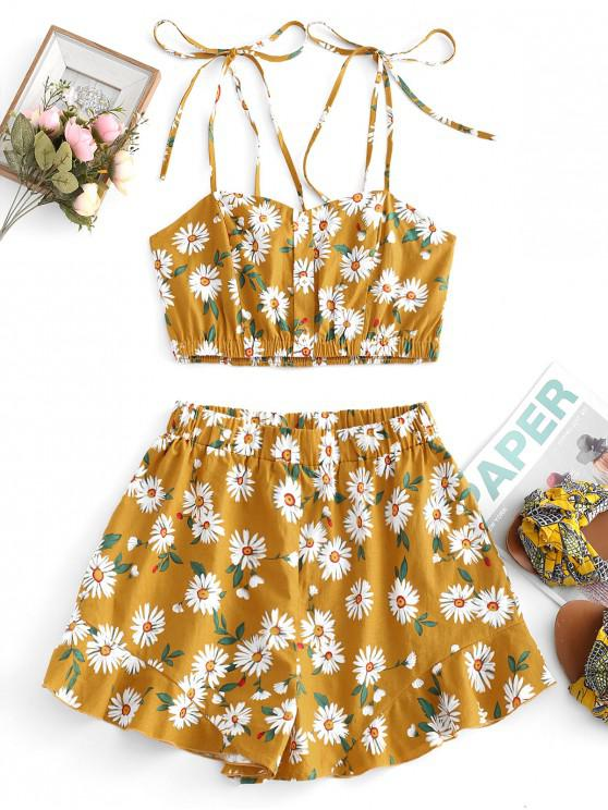 hot ZAFUL Flower Smocked Ruffle Loose Shorts Set - BEE YELLOW S