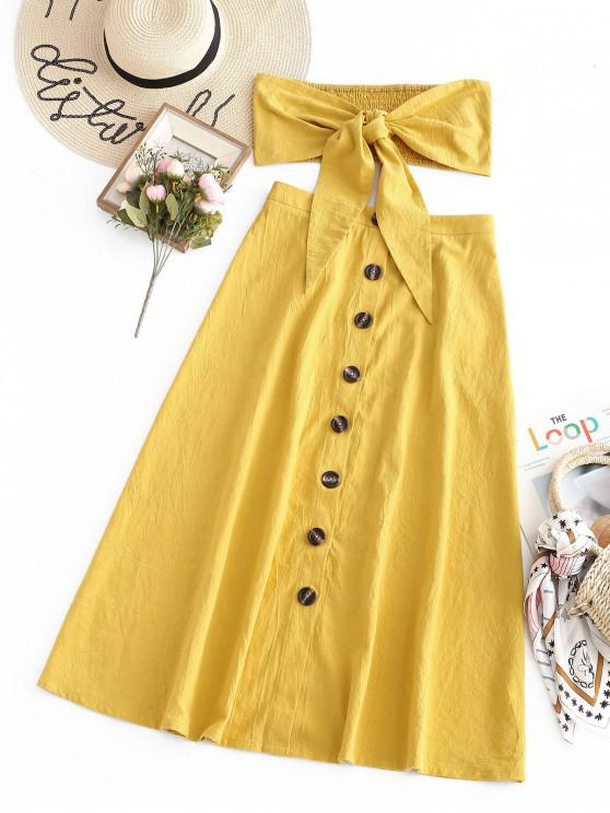 fancy ZAFUL Knotted Bandeau Top And Button Up Skirt Set - YELLOW S