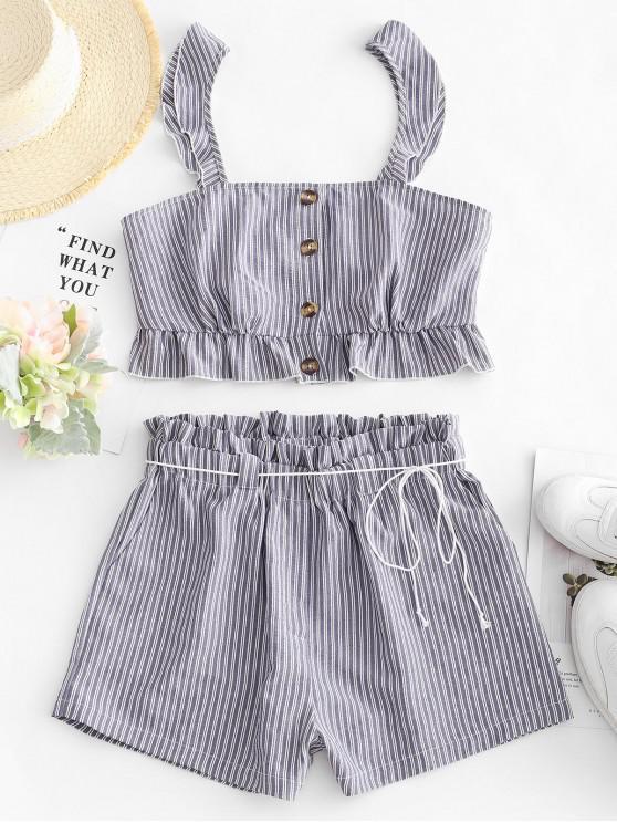 sale ZAFUL Striped Ruffle Paperbag Shorts Set - MULTI M
