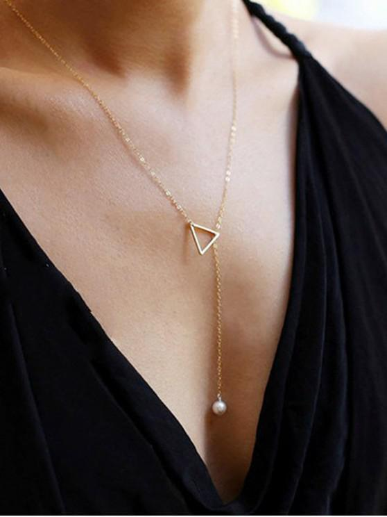 fancy Triangle Faux Pearl Lariat Necklace - GOLD