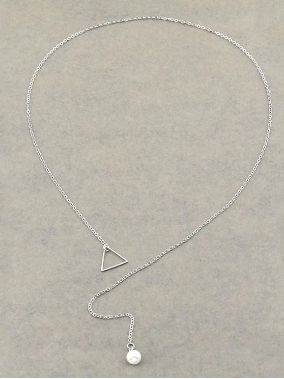 sale Triangle Faux Pearl Lariat Necklace - SILVER