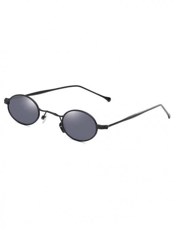 affordable Retro Narrow Oval Metal Sunglasses - BLACK