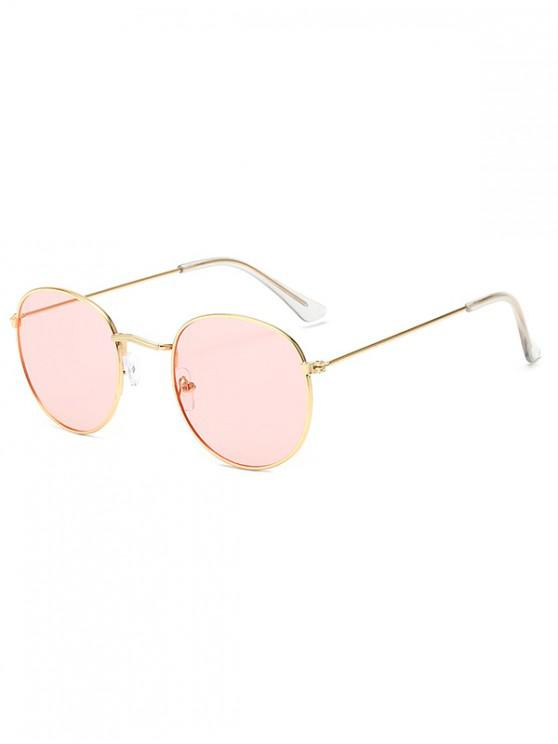 womens Retro Metal Round Ombre Sunglasses - PIG PINK