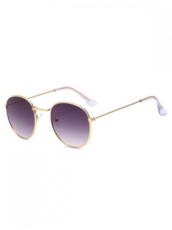 hot Retro Metal Round Ombre Sunglasses - CARBON GRAY