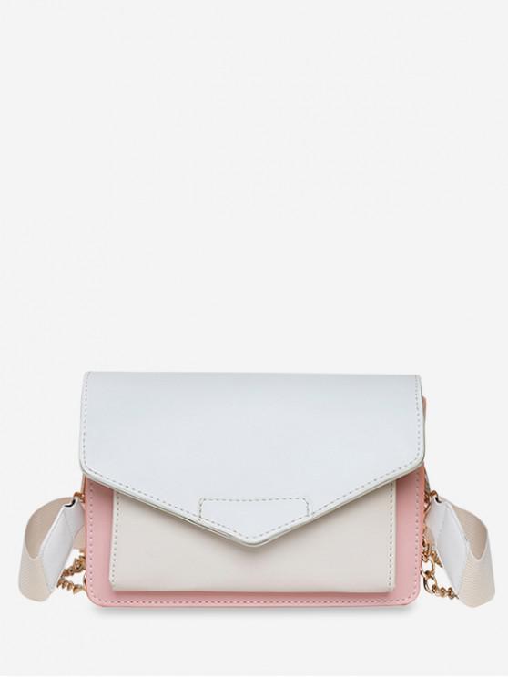 fancy Wide Strap Summer Square Shoulder Bag - WHITE