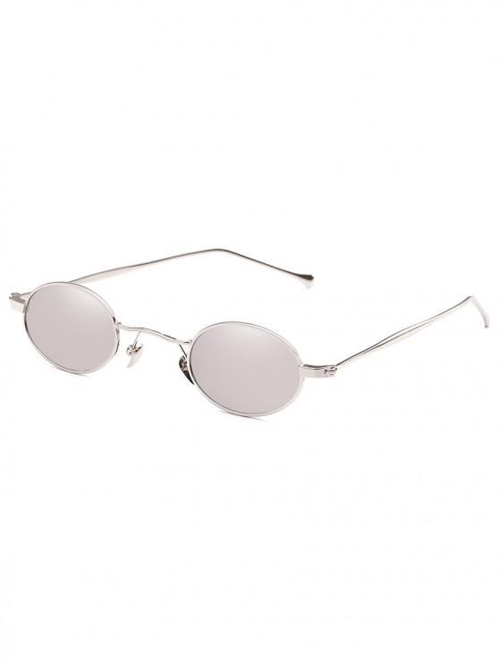 affordable Retro Narrow Oval Metal Sunglasses - PLATINUM