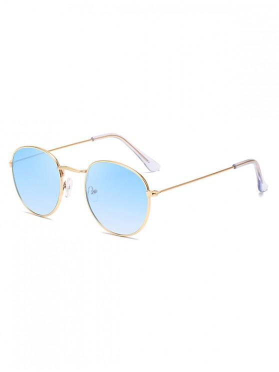 womens Retro Metal Round Ombre Sunglasses - SKY BLUE