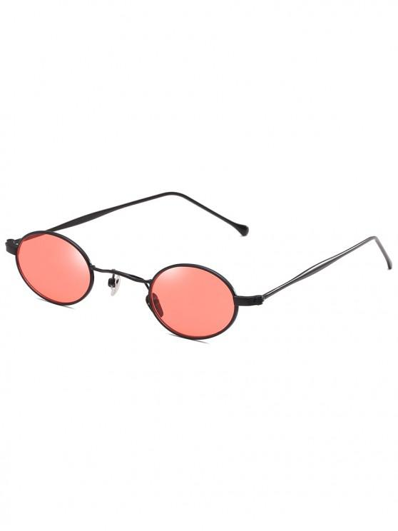 lady Retro Narrow Oval Metal Sunglasses - RED