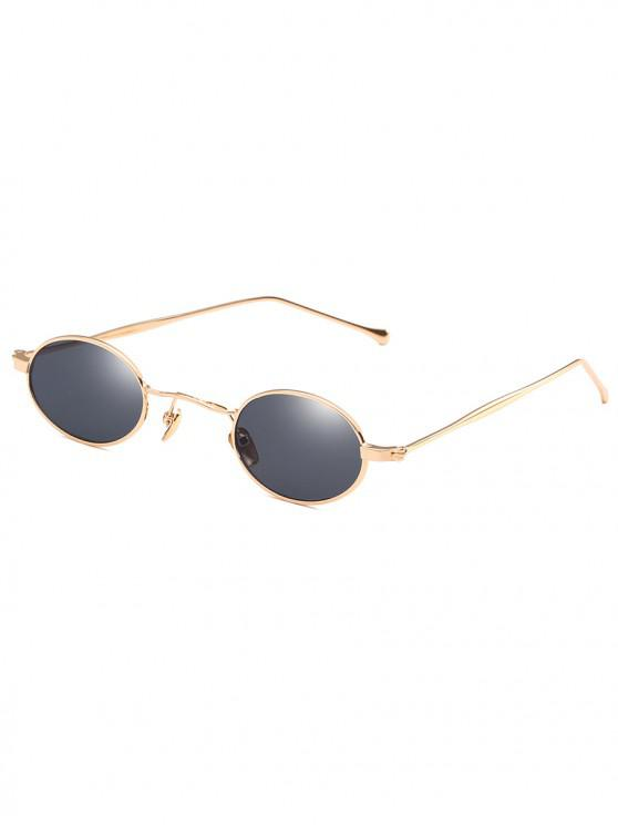 best Retro Narrow Oval Metal Sunglasses - BLACK EEL