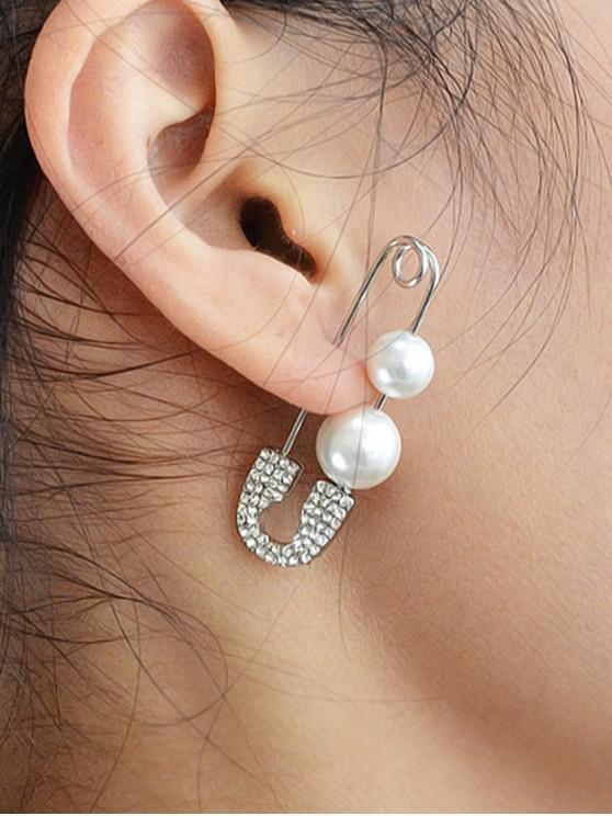 online Faux Pearl Safe Pin Earrings - SILVER