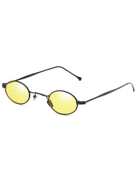 a1db7763b402 16% OFF] 2019 Retro Narrow Oval Metal Sunglasses In YELLOW | ZAFUL