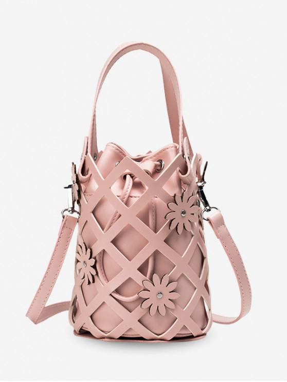 lady Hollowed Grid Flower Decorated Bucket Bag - PINK