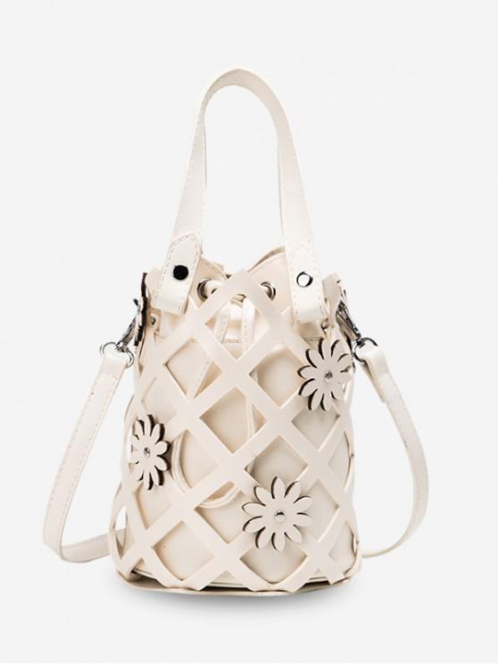 hot Hollowed Grid Flower Decorated Bucket Bag - WHITE