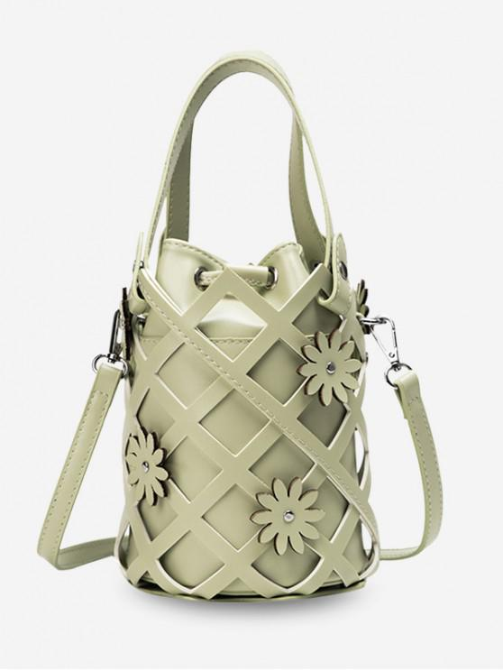 shop Hollowed Grid Flower Decorated Bucket Bag - DARK SEA GREEN