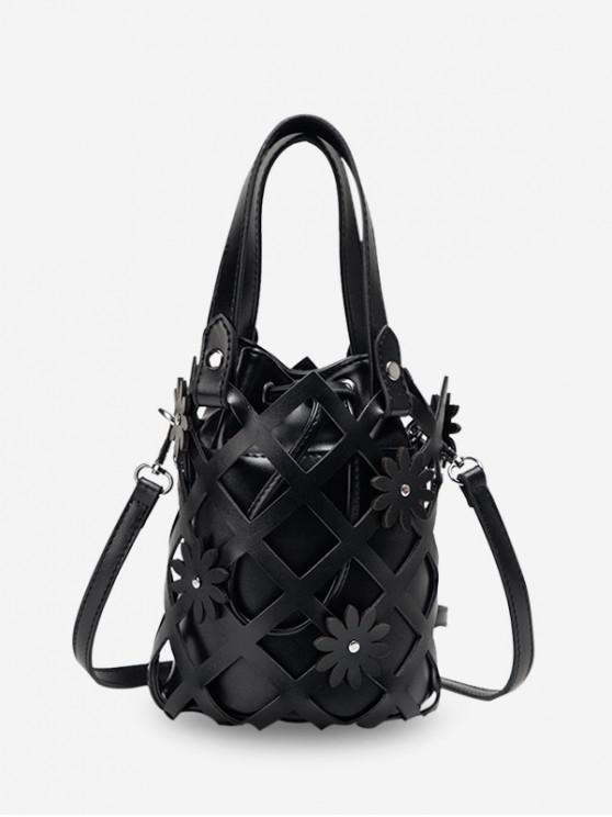 new Hollowed Grid Flower Decorated Bucket Bag - BLACK