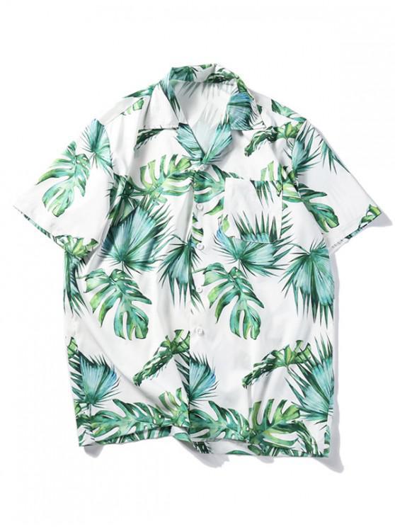 Hawaii- Strand -Shirt mit Tropischem Blattdruck - Weiß L
