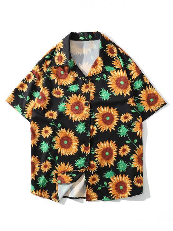 Sonnenblumendruck- Strand- Shirt - Multi-B 2XL