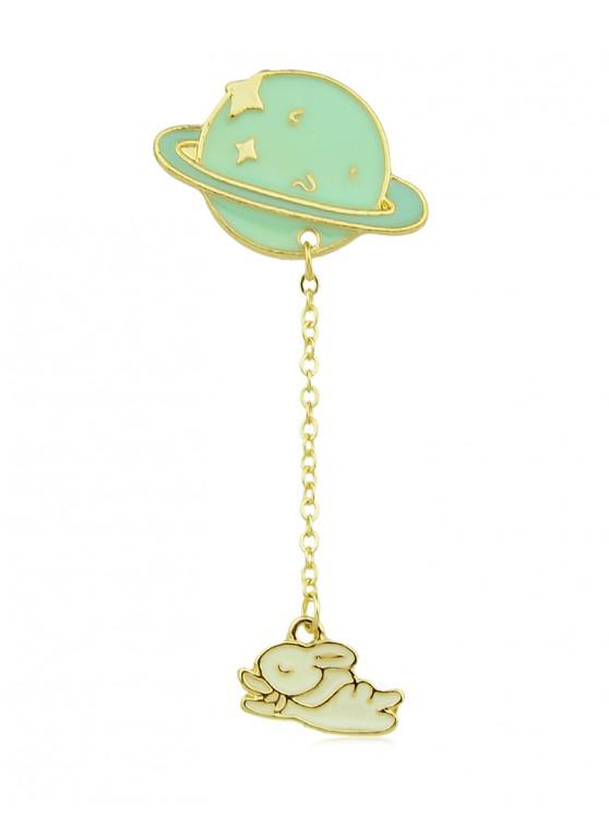 women Cartoon Planet Chain Glazed Brooch - YELLOW GREEN
