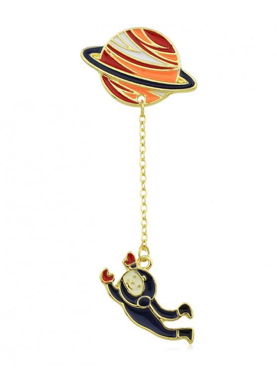 women's Cartoon Planet Chain Glazed Brooch - GOLD