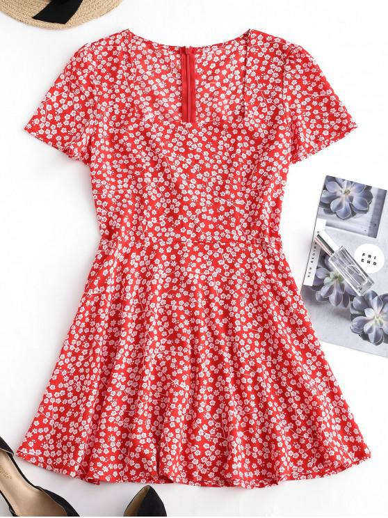 ladies Square Collar Tiny Floral Dress - RED S